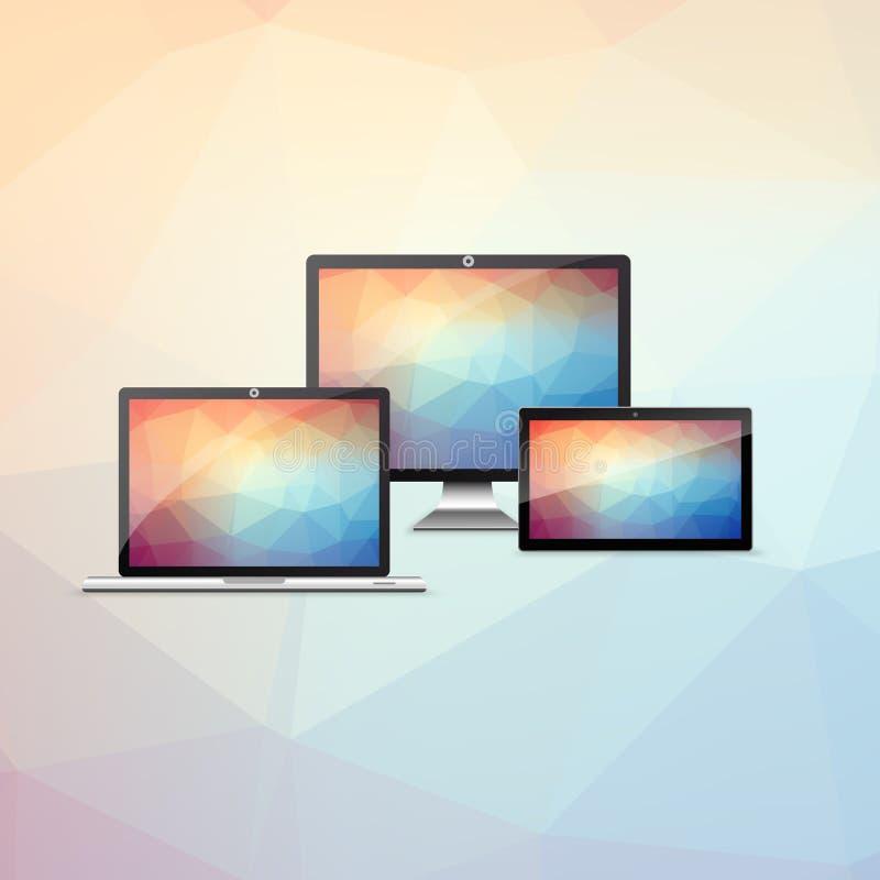 Apparatuppsättning, bärbar dator, minnestavla, smartphone, med färgrika låga polygonbakgrunder, royaltyfri illustrationer