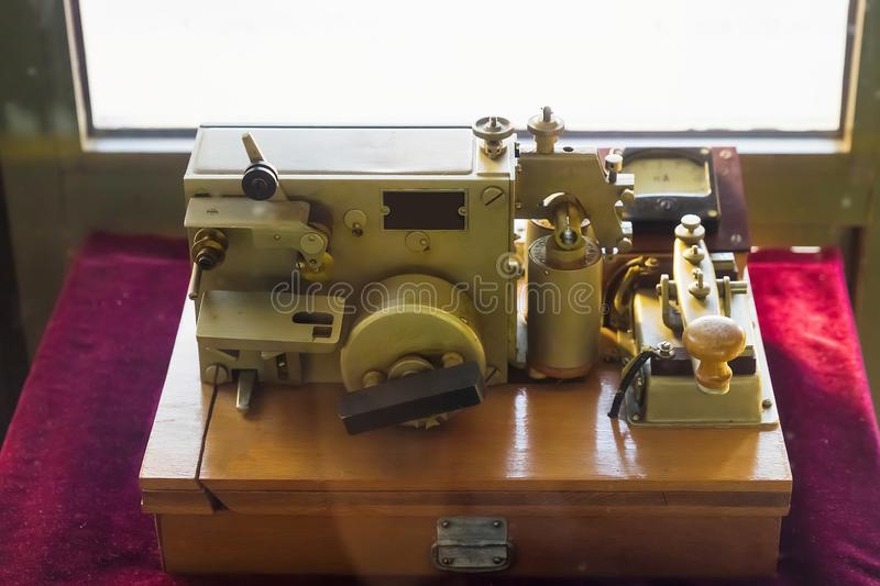 The apparatus of the electric telegraph of the american inventor Samuel Morse.  stock photos