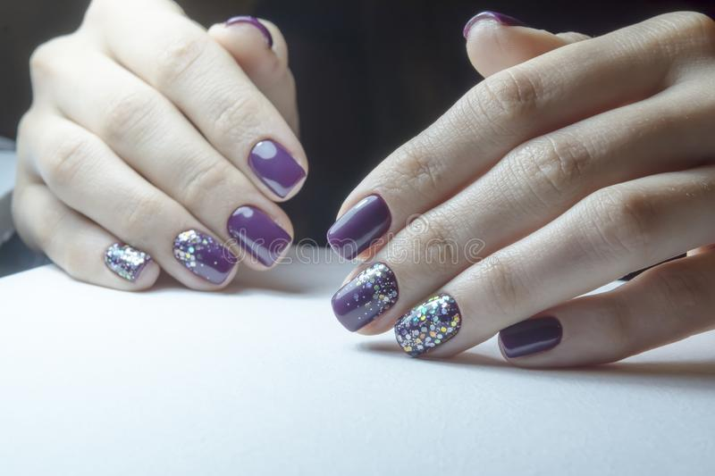 Apparatus manicure, preparing nails for gel polish, the process of coating. And the finished result stock image
