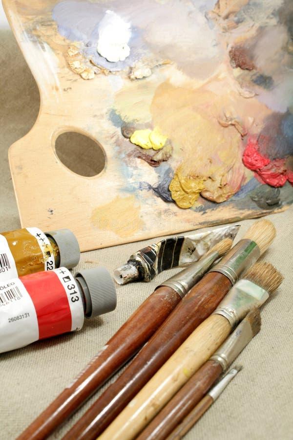 Apparatuur van artistieke schilder royalty-vrije stock fotografie