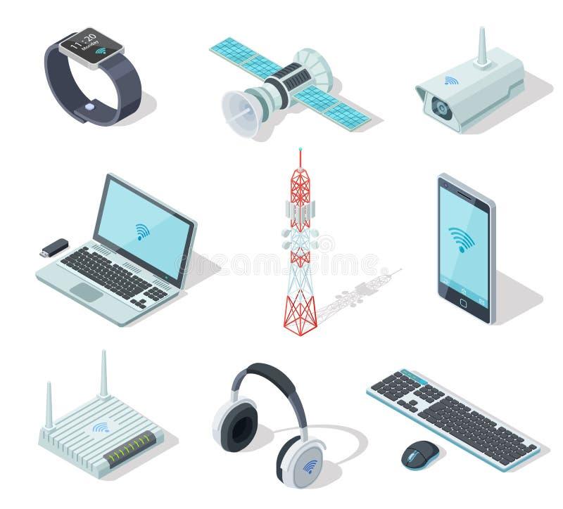 Apparecchi elettronici Collegamento senza fili isometrico degli aggeggi Regolatore a distanza, router del telefono cellulare Tecn royalty illustrazione gratis