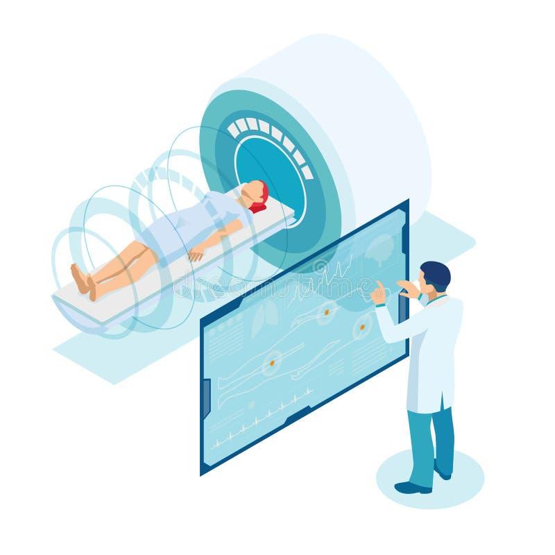 Apparecchiatura di risonanza magnetica isometrica Il dottore in giacca bianca sta preparando il paziente alla macchina per l'imag illustrazione di stock