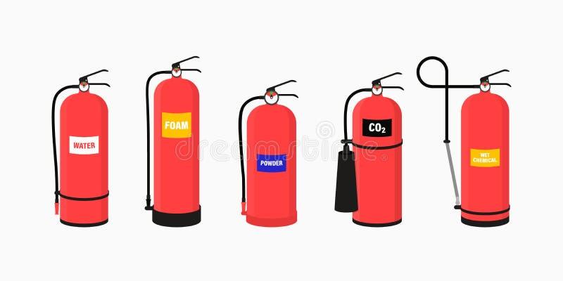 Apparecchiatura estintore con unità portatili isolate antincendio di diversa forma nell'illustrazione trasparente del vettore di  royalty illustrazione gratis