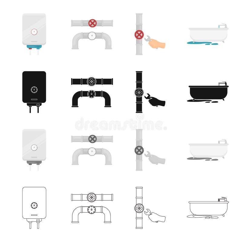 Apparecchiature, impianto idraulico, strumenti e l'altra icona di web nello stile del fumetto Metallo, plastica, attrezzatura, ic illustrazione di stock