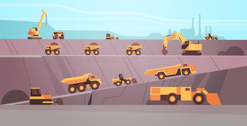Apparecchiature professionali che lavorano nell'industria di estrazione mineraria della produzione di miniere di carbone Concetto illustrazione vettoriale
