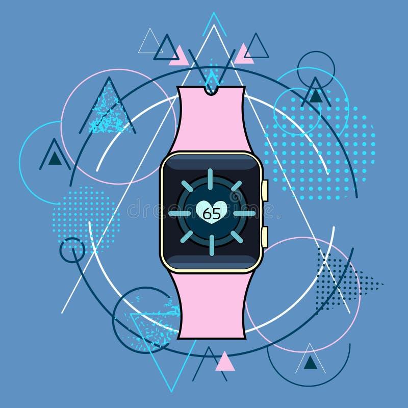 Apparecchio elettronico astuto di tecnologia di applicazione dell'inseguitore di forma fisica dell'orologio sopra il fondo geomet illustrazione vettoriale
