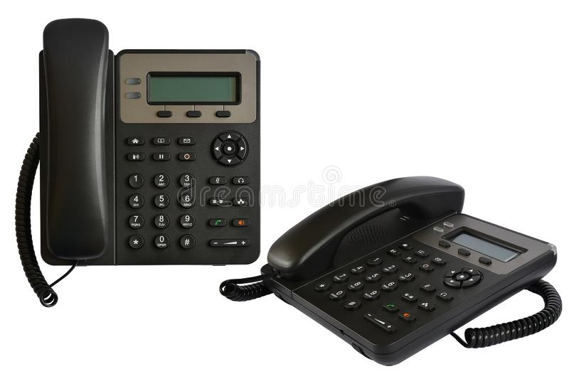 Apparecchio telefonico con esposizione ed i bottoni Telefono moderno per IP-telefonia fotografie stock libere da diritti