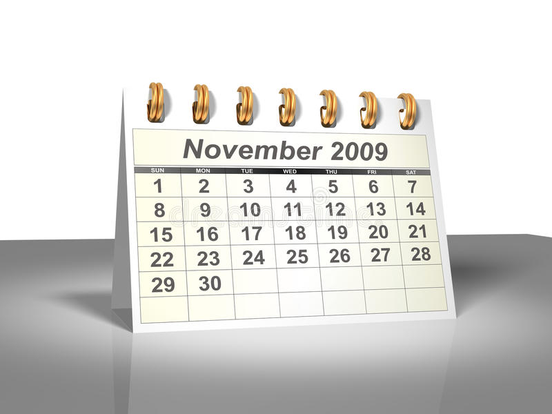 appareil de bureau novembre du calendrier 2009 3d images stock