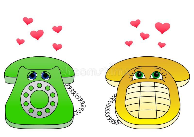 Appareil de bureau téléphone-amoureux illustration de vecteur