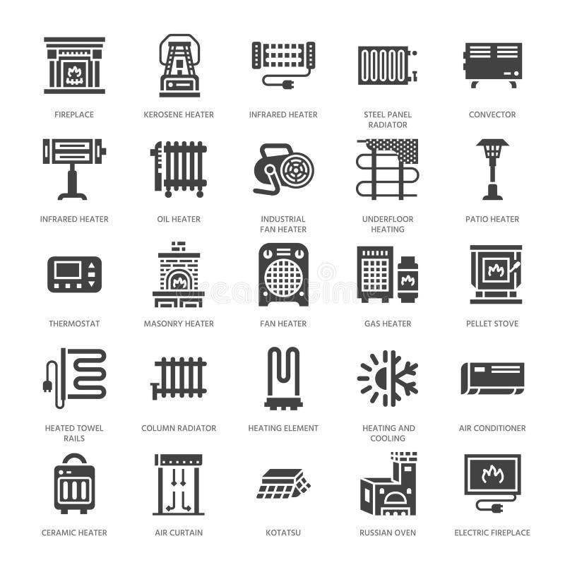 Appareil de chauffage d'huile, cheminée, convecteur, radiateur de colonne de panneau et d'autres icônes de glyph d'appareils de c illustration stock