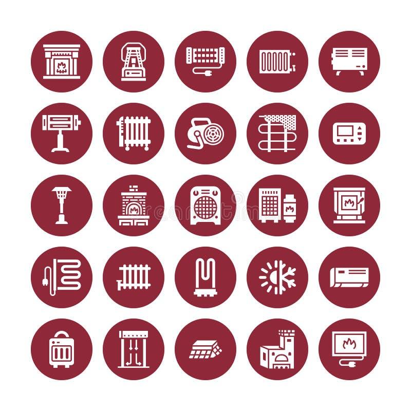 Appareil de chauffage d'huile, cheminée, convecteur, radiateur de colonne de panneau et d'autres icônes de glyph d'appareils de c illustration de vecteur