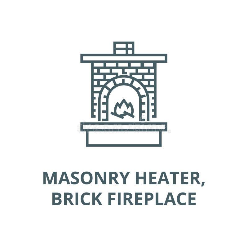 Appareil de chauffage de maçonnerie, cheminée avec la ligne icône, concept linéaire, signe d'ensemble, symbole de vecteur de briq illustration de vecteur