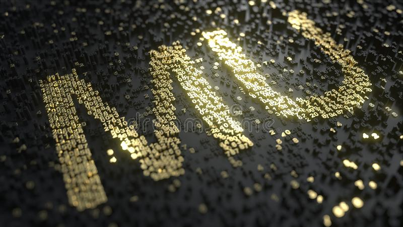 Appareil enregistreur de la cote de la MU de technologie de micron fait de nombres d'or, rendu 3D éditorial conceptuel illustration libre de droits