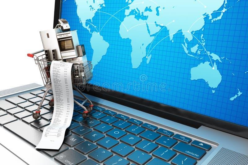 Appareil ménager de commerce électronique ou de concept en ligne d'achats dans les achats illustration libre de droits