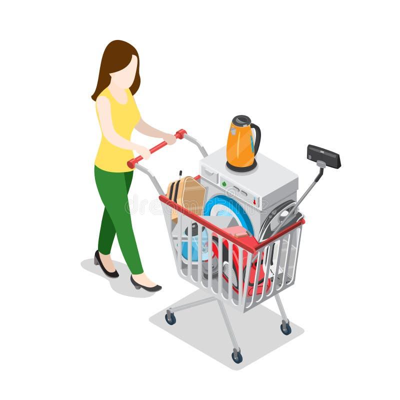 Appareil ménager e des achats 3d en ligne isométriques plats illustration libre de droits