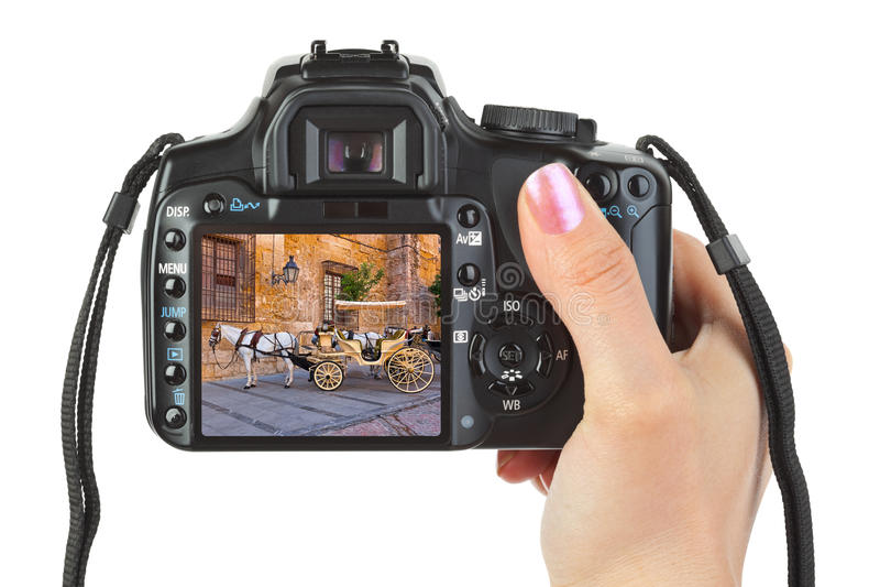 Appareil-photo à disposition et vue de l'Espagne (ma photo) images stock