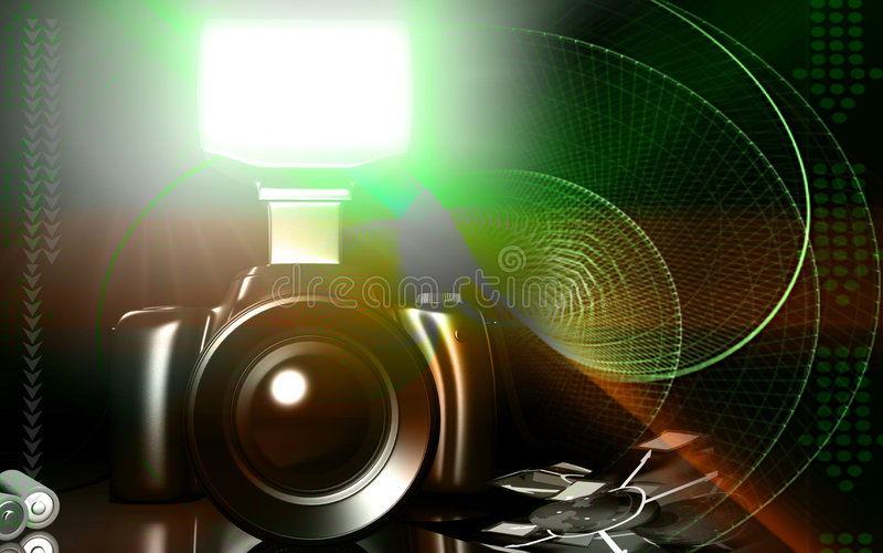 Appareil-photo avec la lampe-torche illustration libre de droits