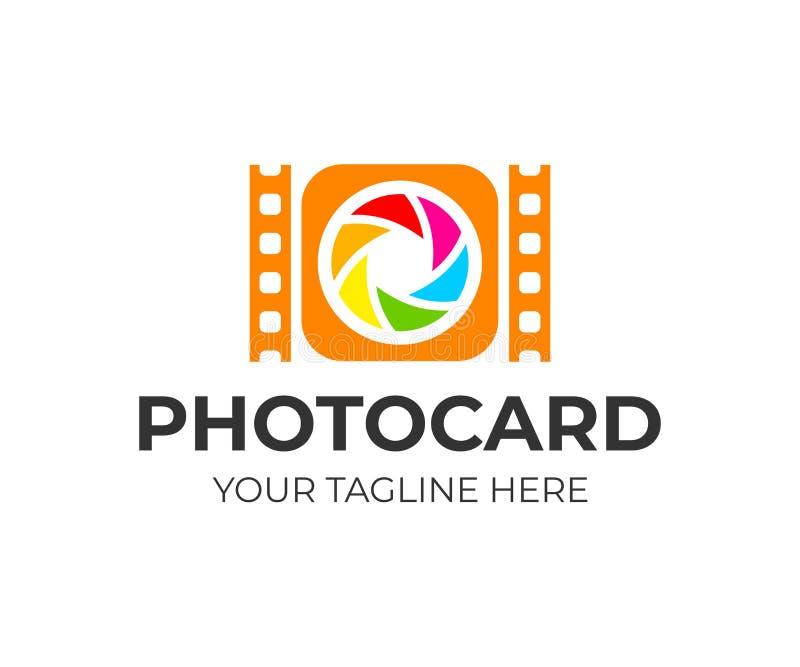 Appareil-photo avec la lentille et le film, conception de logo Photographie, photographe, photo et studio de media, conception de illustration libre de droits