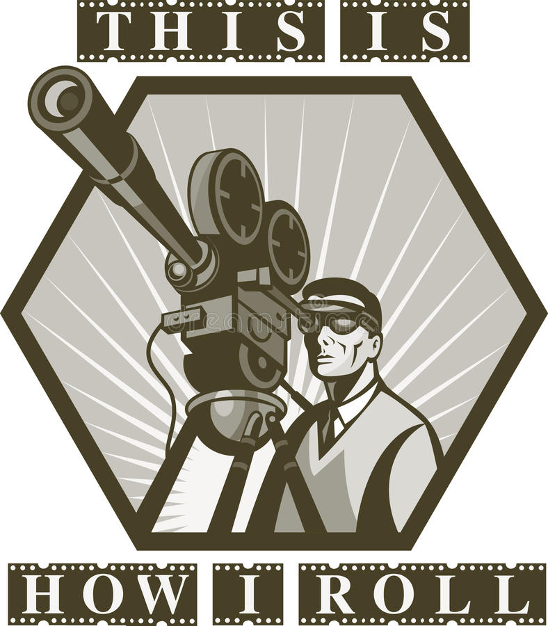 Appareil-photo de film de film de directeur illustration libre de droits