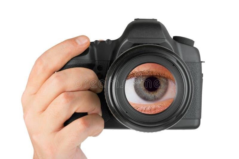Appareil-photo de photo à disposition et oeil dans la lentille image libre de droits