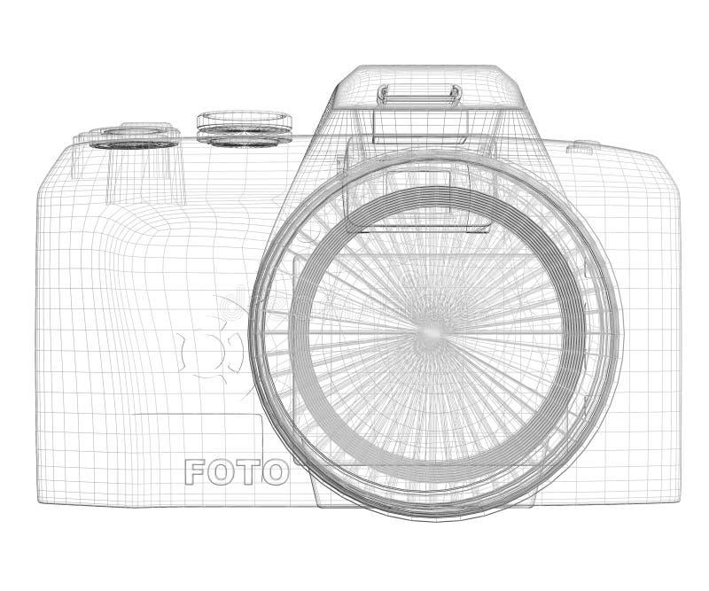 Appareil-photo de SLR. Cadre de fil illustration de vecteur