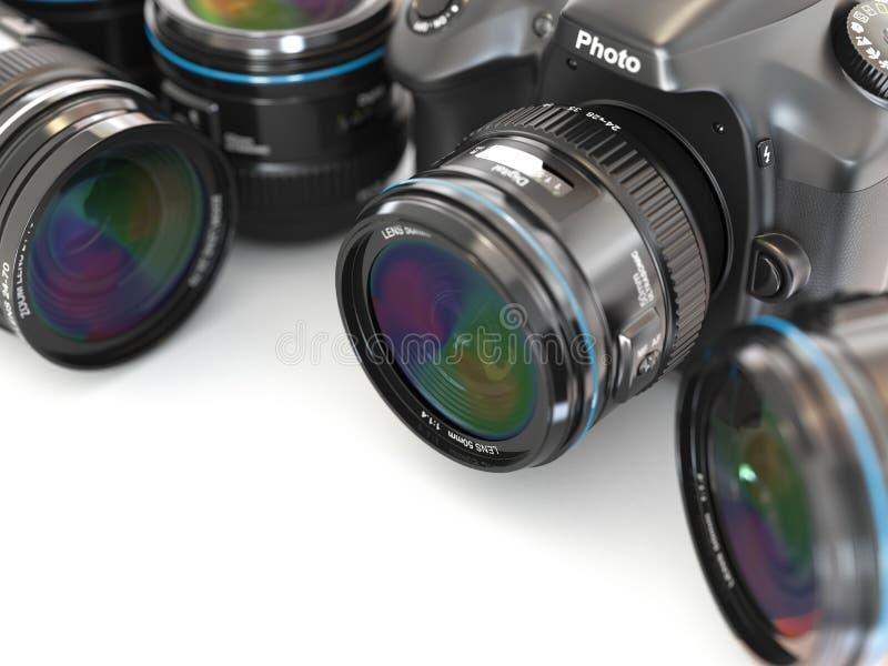 Appareil-photo de slr de Digital avec la lentille. Équipement de photographie. illustration libre de droits