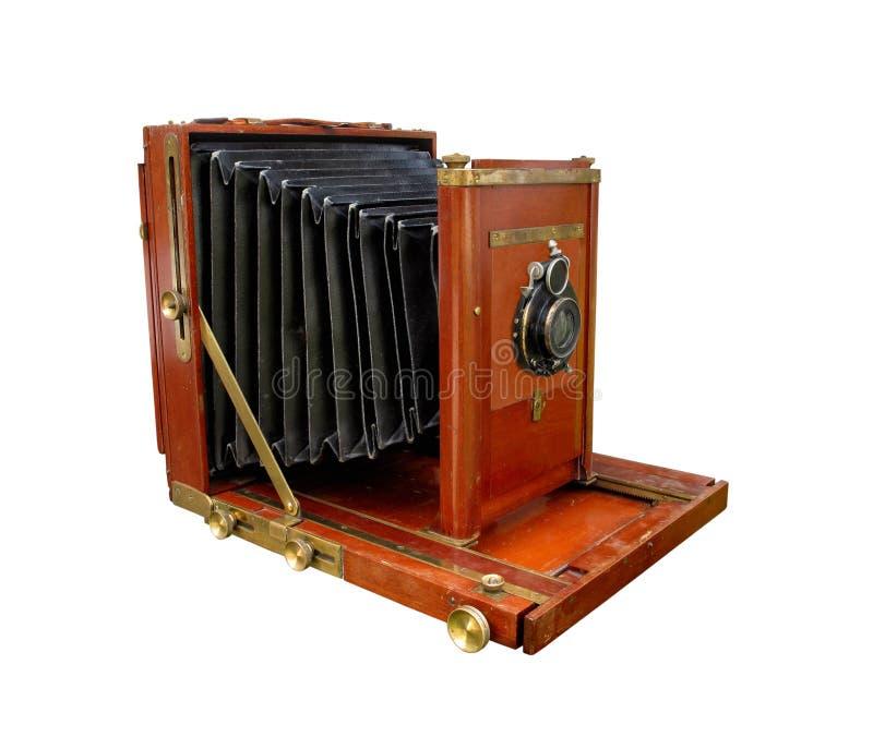 Appareil-photo en bois d'antiquité d'isolement. photo libre de droits