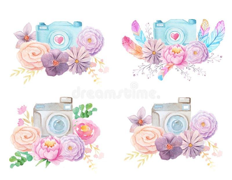 Appareil-photo et fleurs d'aquarelle illustration libre de droits