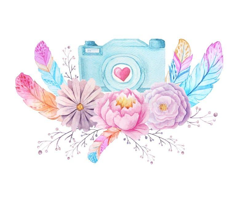 Appareil-photo et fleurs d'aquarelle illustration de vecteur