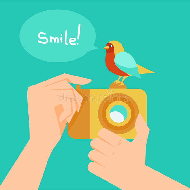 Appareil photo numérique de vecteur et oiseau de bande dessinée illustration libre de droits