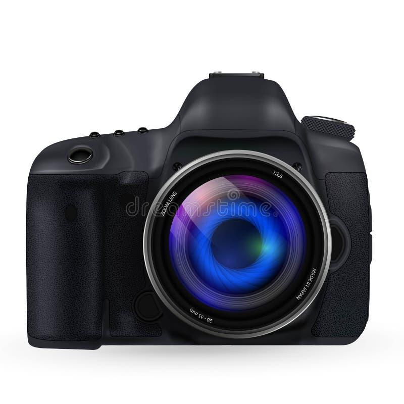 Appareil-photo photographique avec le vecteur de lentille illustration stock