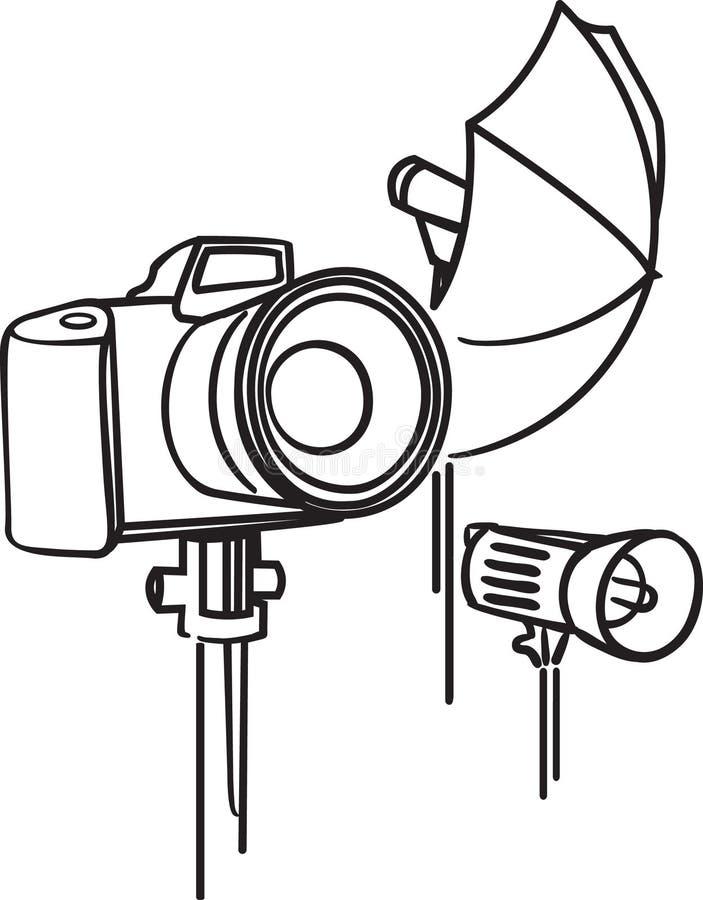 Appareil-photo, photoumbrella et bavure illustration de vecteur