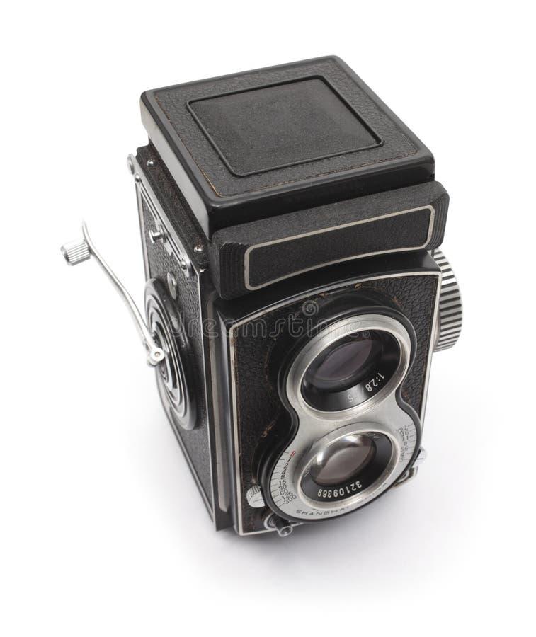 Appareil-photo réflexe de lentille jumelle démodée photos libres de droits