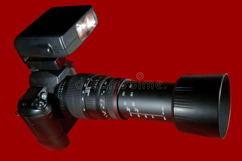 Appareil-photo w/Paths rouge de téléobjectif photos stock