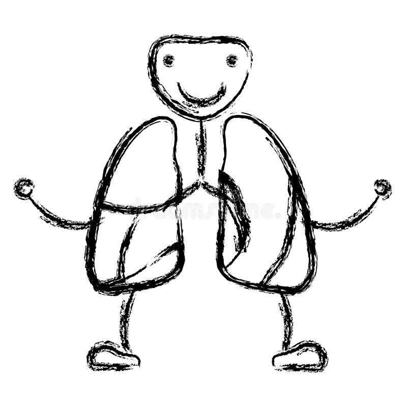 Appareil respiratoire brouillé de caricature de découpe de dessin de main avec la trachée-artère illustration stock