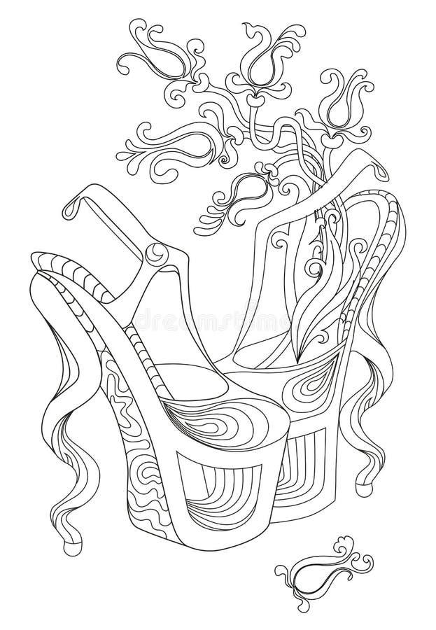 Appareillez des fleurs de sorcière de chaussures Livres de coloriage pour des adultes Image standard pour un T-shirt illustration de vecteur
