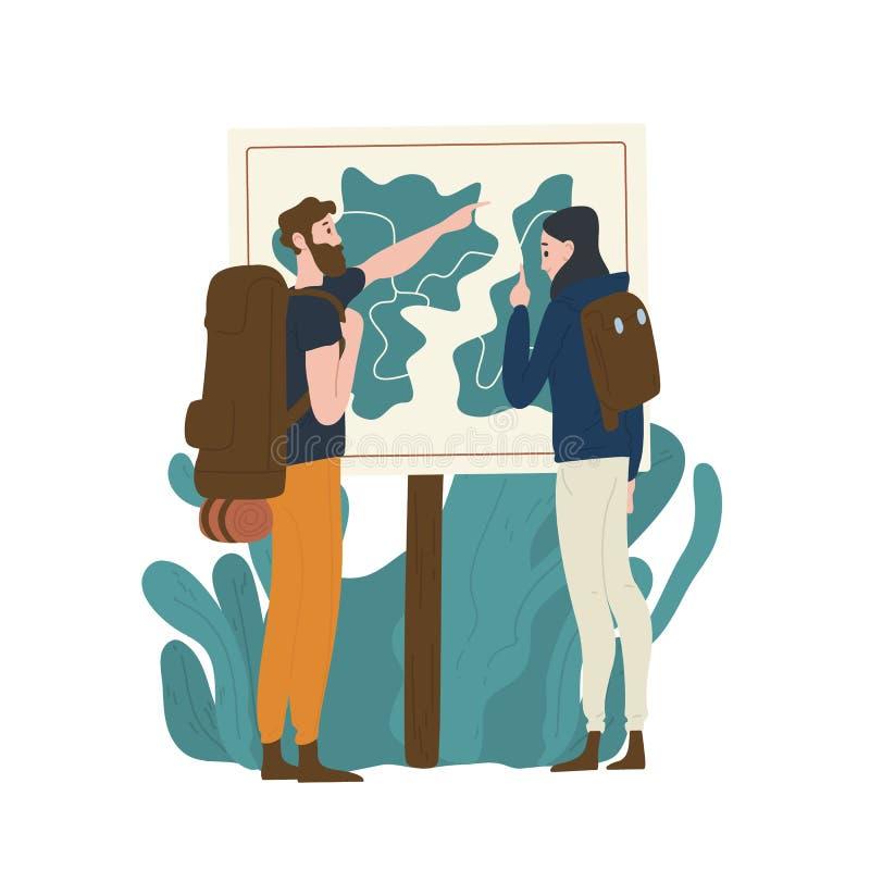 Appareillez des touristes se tenant devant la carte et vérifiant leur itinéraire Jeune homme et femme trimardant ou se baladant e illustration libre de droits