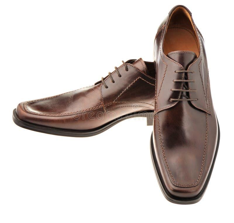 Appareillez une chaussure un cuir brun image stock