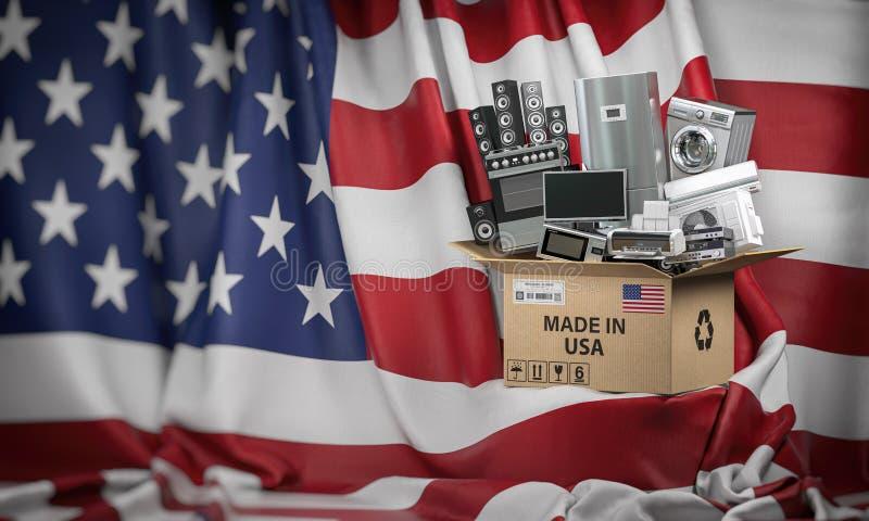 Appareils électroménagers fabriqués aux Etats-Unis Les techniques à la maison de cuisine dans une boîte en carton producted et on illustration libre de droits