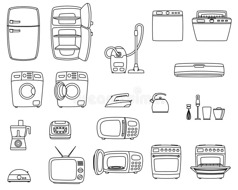 Appareils électroménagers réglés Techniques à la maison illustration stock
