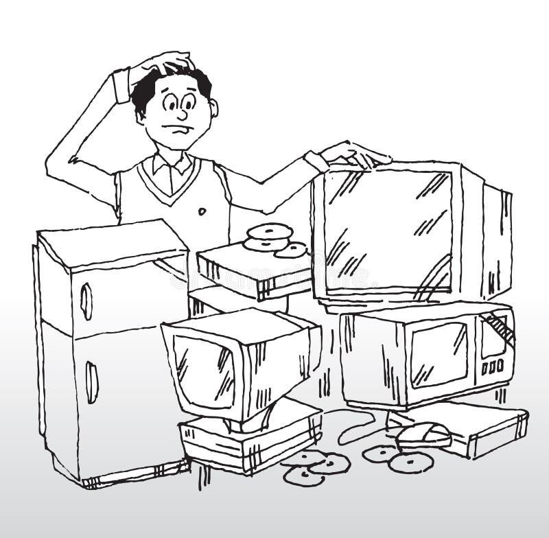 Appareils électroniques à la maison illustration de vecteur