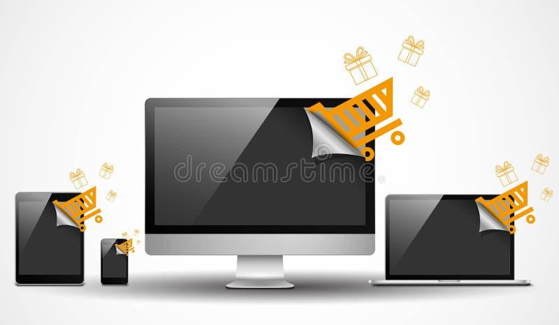 Appareils électroniques avec des icônes d'achats illustration de vecteur