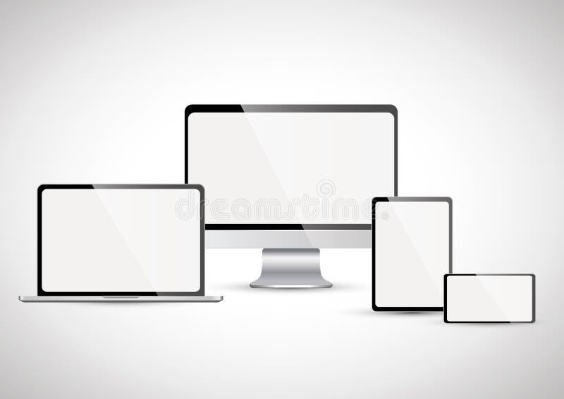 Appareils électroniques avec l'écran blanc (placez 4) image stock
