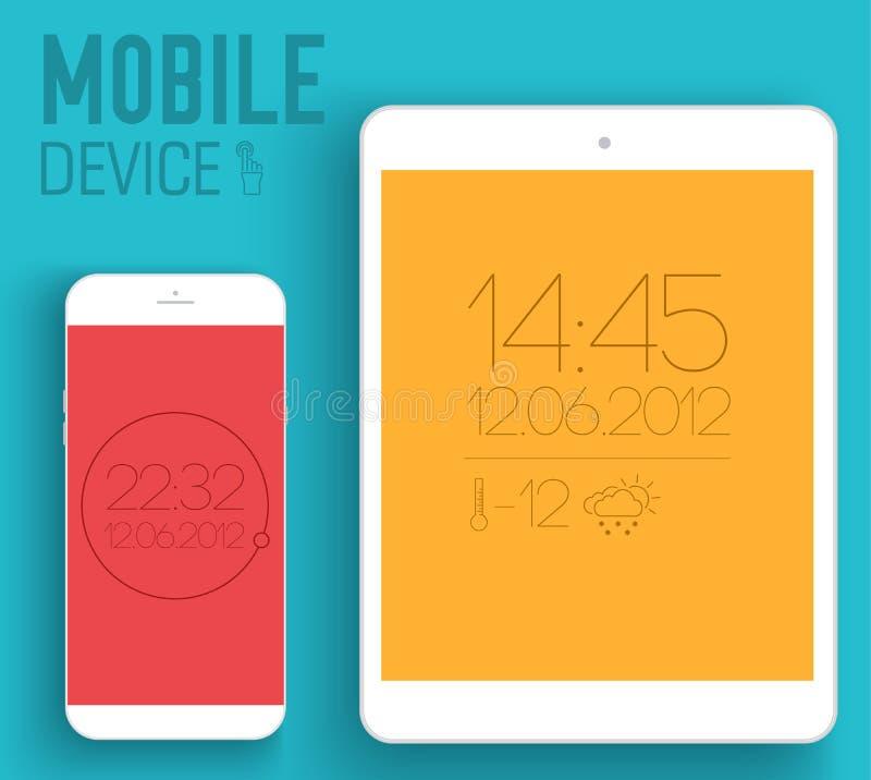 Appareils électroniques mobiles sur le concept plat de style illustration stock