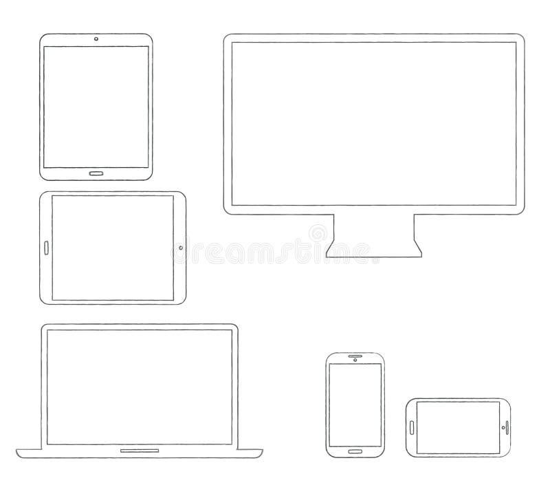 Appareils électroniques modernes décrits tirés par la main illustration stock