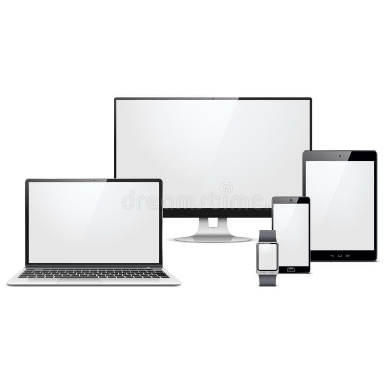 Appareils électroniques modernes de vecteur réglés illustration libre de droits