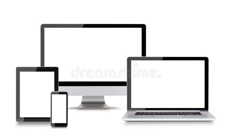 Appareils électroniques modernes sur le fond blanc illustration libre de droits
