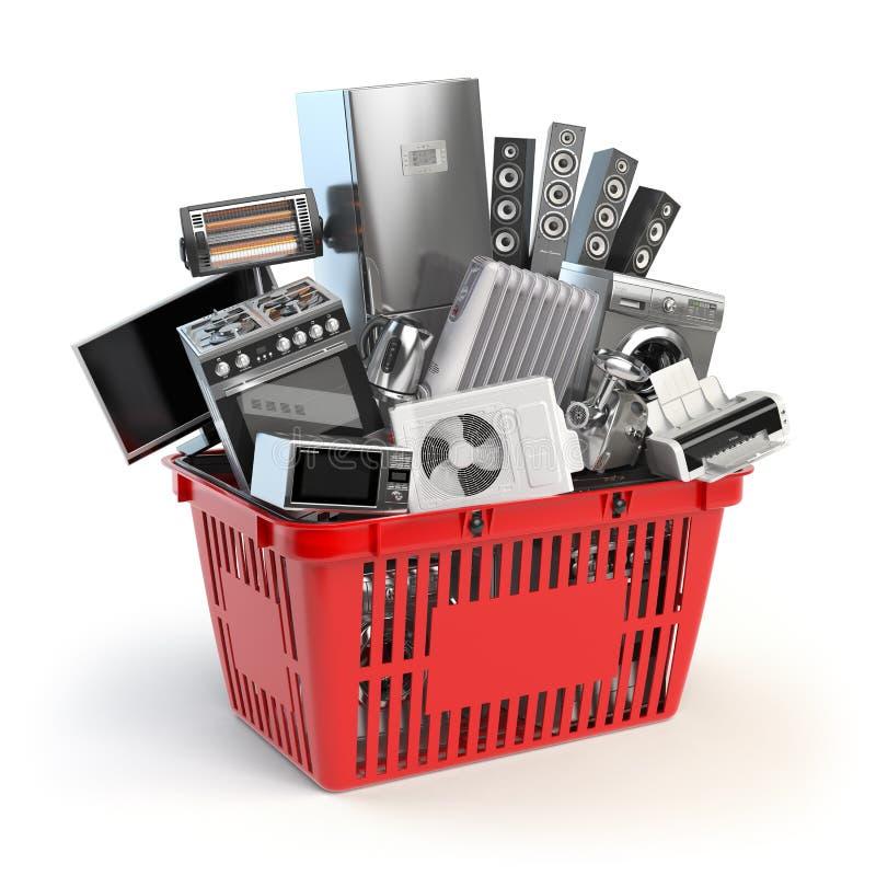 Appareils de cuisine dans le panier à provisions Concept en ligne de commerce électronique illustration libre de droits