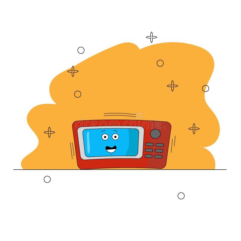 Appareils de cuisine de micro-onde de bande dessinée Caract?re dr?le Une micro-onde rouge et bleue avec des yeux sur un fond jaun illustration stock