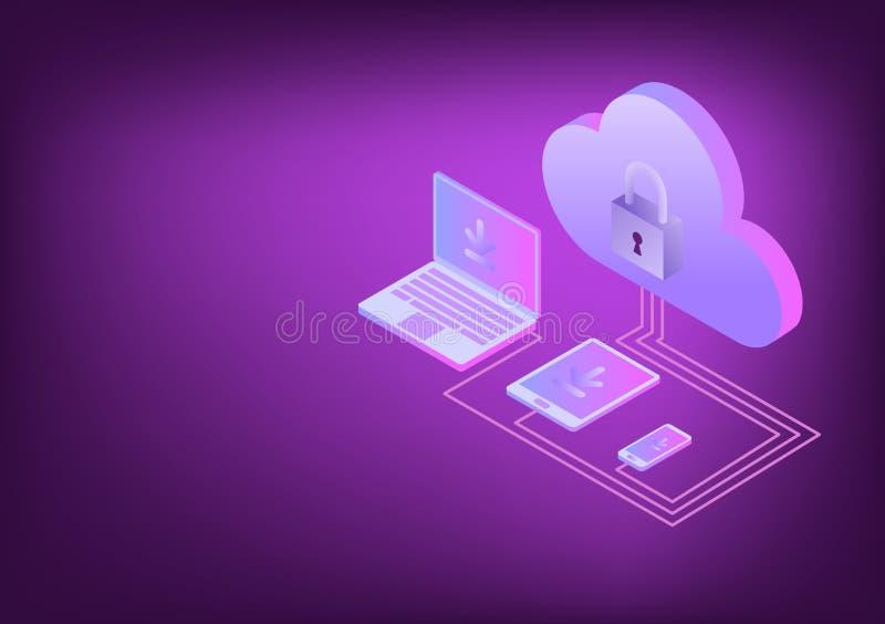 Appareils ?lectroniques isom?triques se reliant au nuage, concept de calcul de nuage, VECTEUR, EPS10 illustration libre de droits